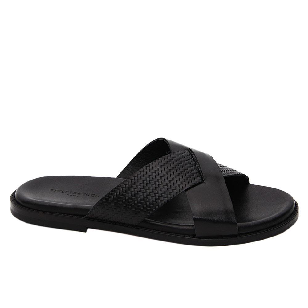 Black Aurelio Crossover Italian Leather Slippers