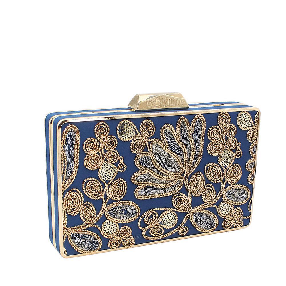 Blue Gold Sequins Fabric Clutch Purse