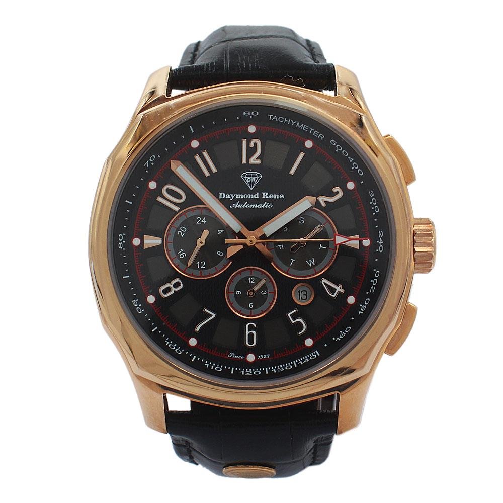 DR 3ATM Rose Gold Black Leather Chronograph Automatic Watch