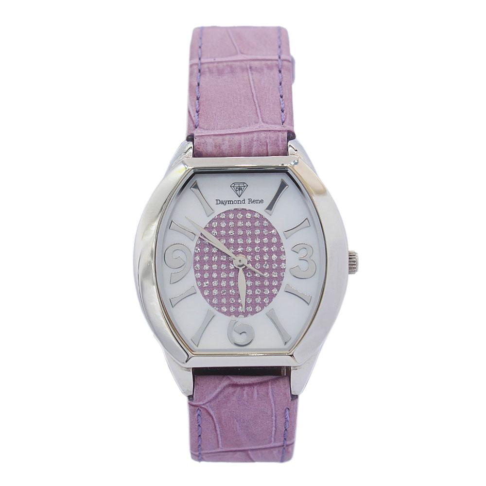 DR 3ATM Silver Lilac Leather Flat Ladies Watch