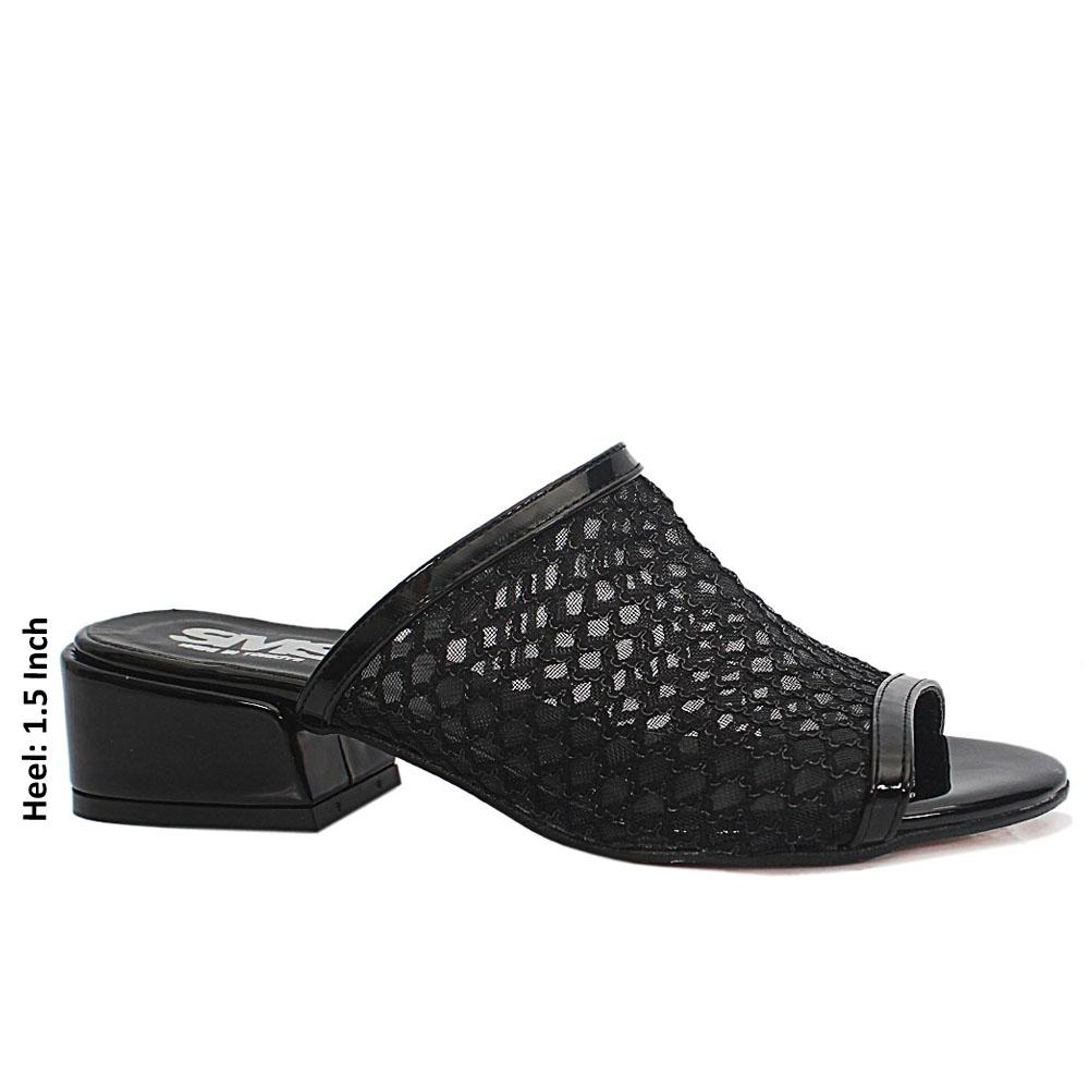 Black Open Toe Mesh Low Heel Leather Mule