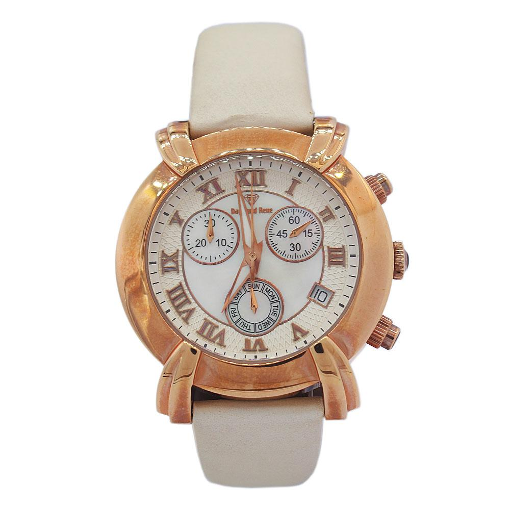 DR 3ATM Rose Gold Cream Leather Ladies Watch