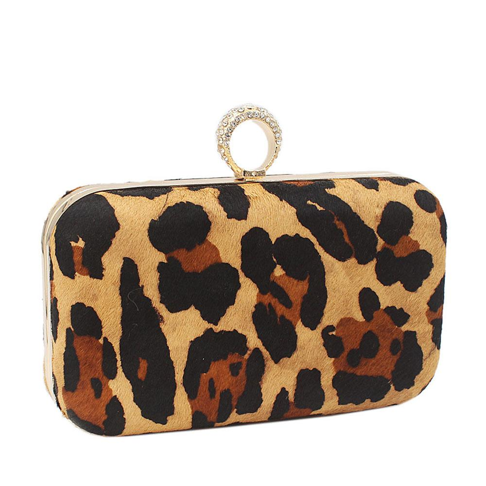 Faux Large Animal Skin Clutch Purse