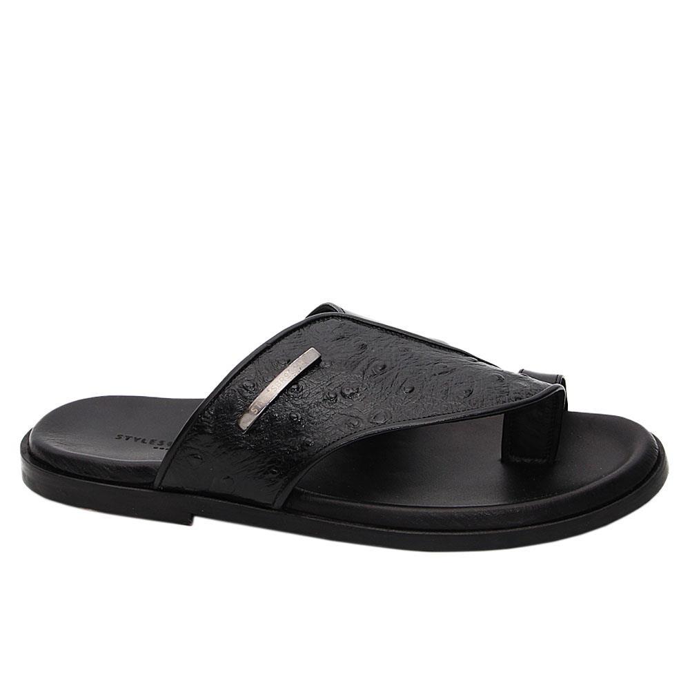 Black Marco Italian Leather Slippers