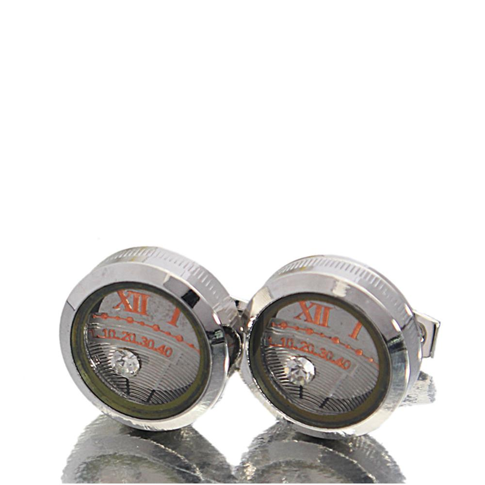 Classic Silver Clock Face Stainless Steel Cufflinks