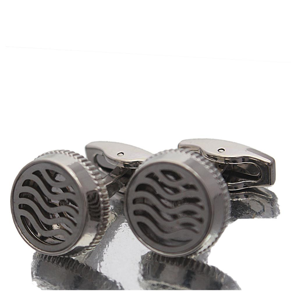 Silver White Patterned Stainless Steel Cufflinks