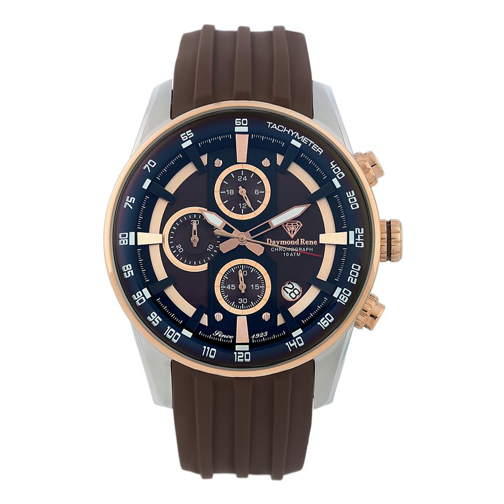 Brown Silver Rubber Chronograph Watch