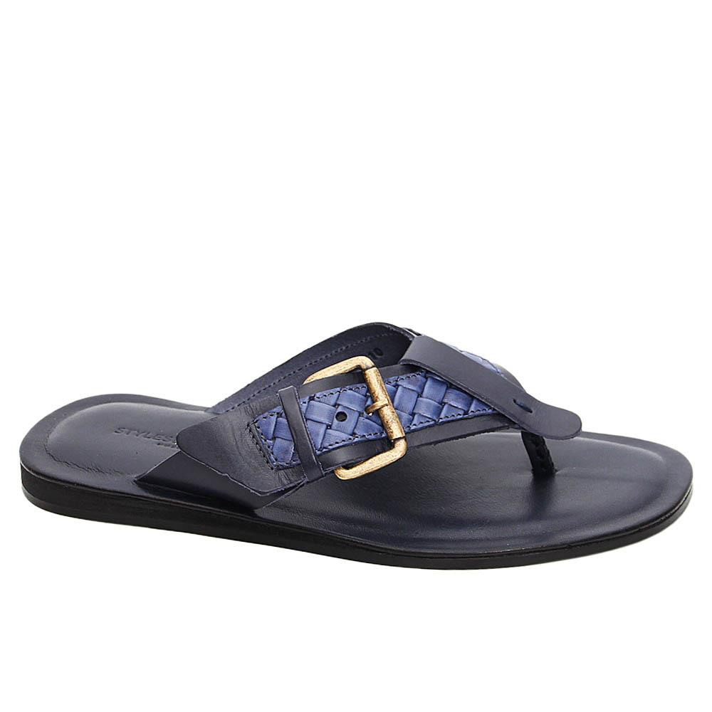 Navy Patrizio Italian Leather Slippers
