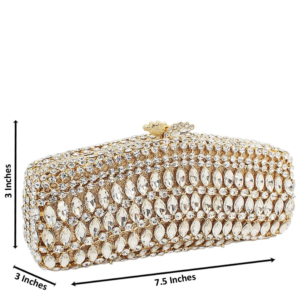 Gold Glass Tear Drop Diamanted Crystals Clutch Purse