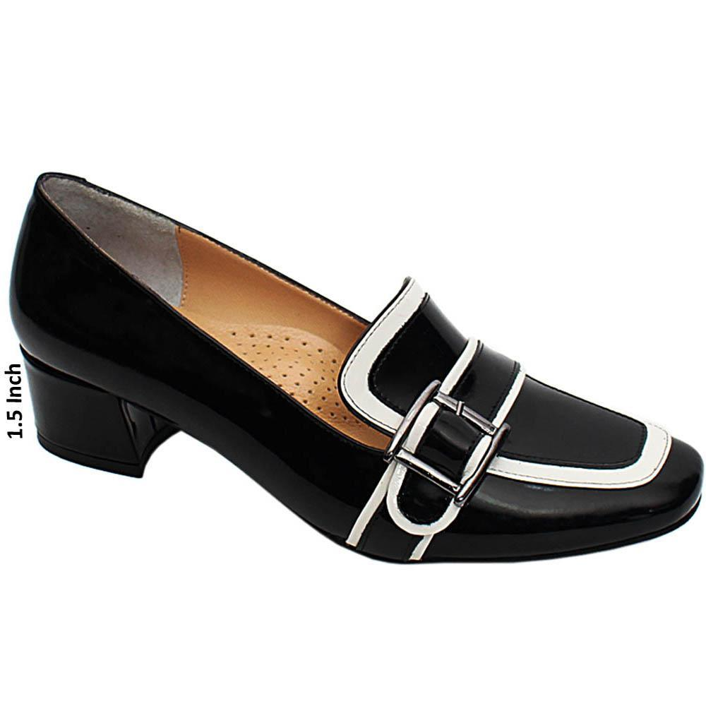 Black White Ella Patent Italian Leather Block Heel Pumps