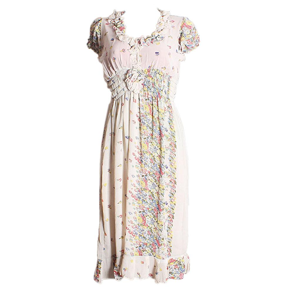 Fashion Cream Mix Floral Design Ladies S-Sleeve Dress-