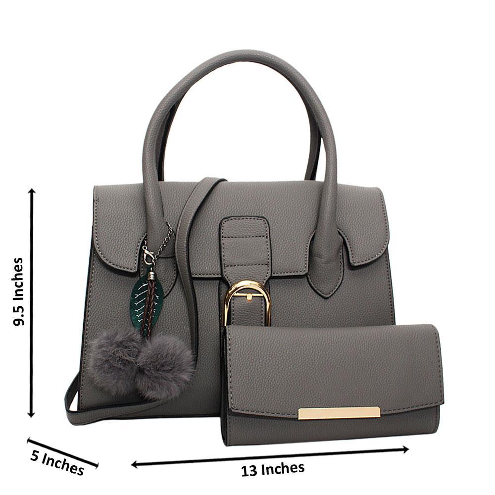 Gray Natalia Leather Medium Tote Handbag