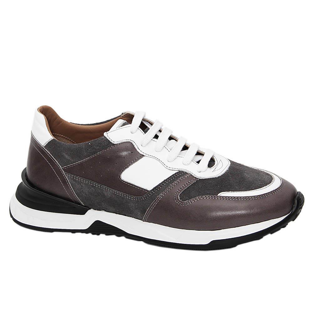 Gray Silvestro Italian Leather Sneakers
