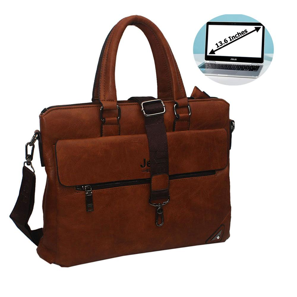 Brown MarcoLeather Single Flap Briefcase