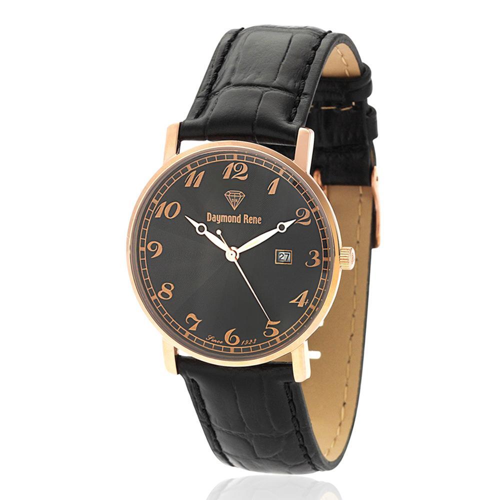 Black Rose Gold Illusion Leather Flat Watch