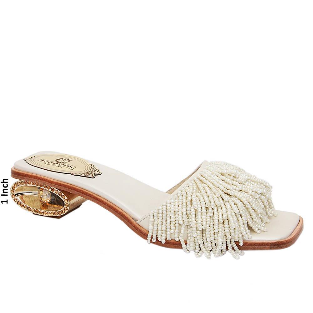 Cream Kimberly Beaded Italian Leather Low Heel Slippers