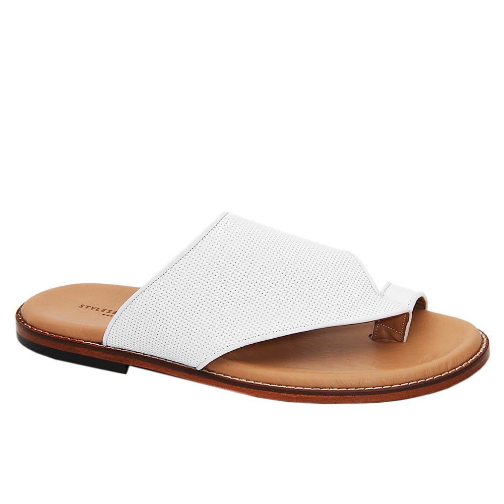 White Jordan Smith Italian Leather Slippers