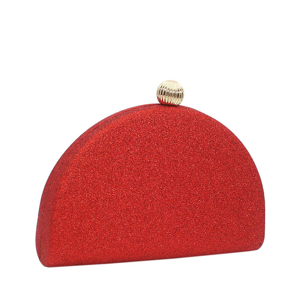 Red Half Moon Shimmering Clutch Purse