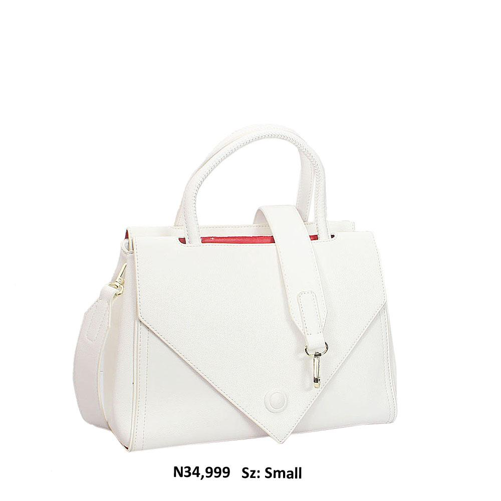 White Evie Leather Tote Handbag