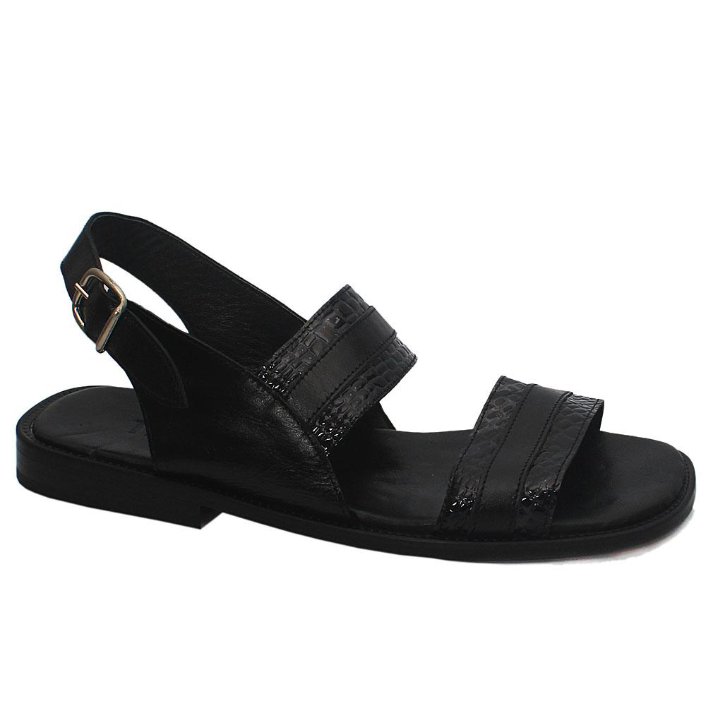 Adonis TRD Black Snake Skin Leather Men Sandals
