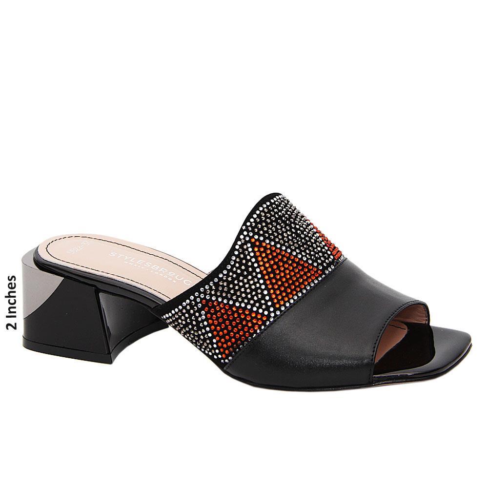 Black Cadiana Studded Tuscany Leather Mid Heel Mule