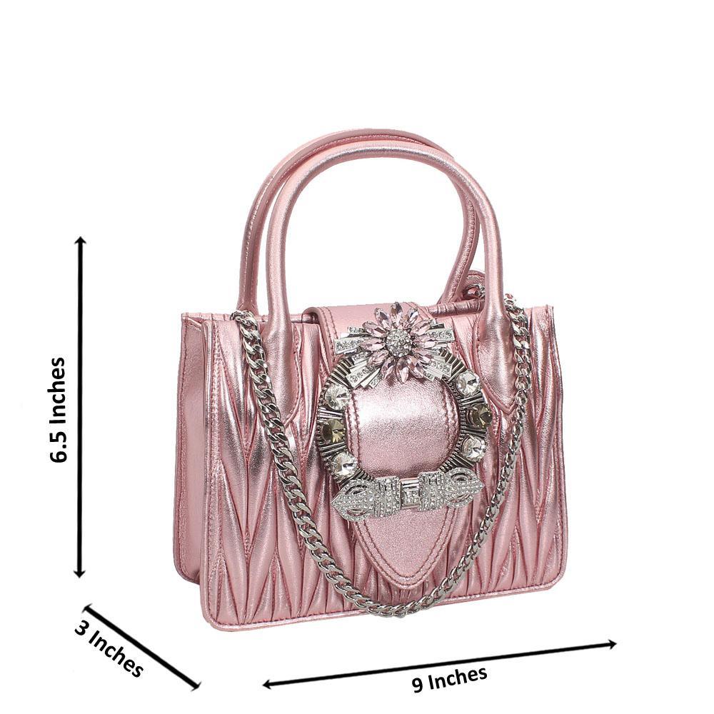 Pink Shimmering Crytals Studded Mini Tote Handbag