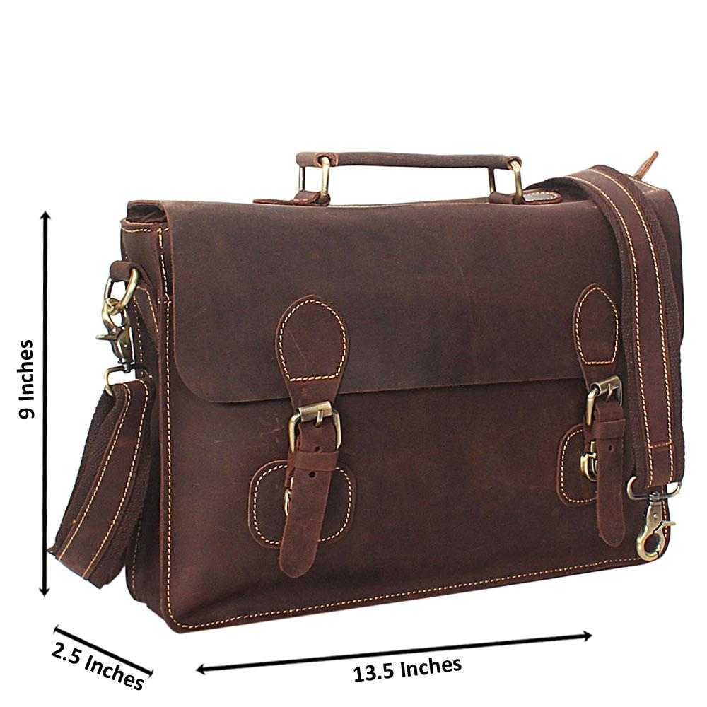 Dark Tan Brown Distressed Leather Briefcase