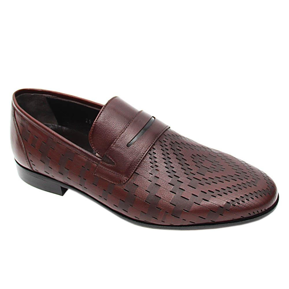Coffee Rodolfo Woven Pattern Italian Leather Loafers