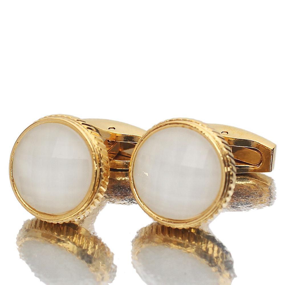 Gold White Ceramic Stainless Steel Cufflinks