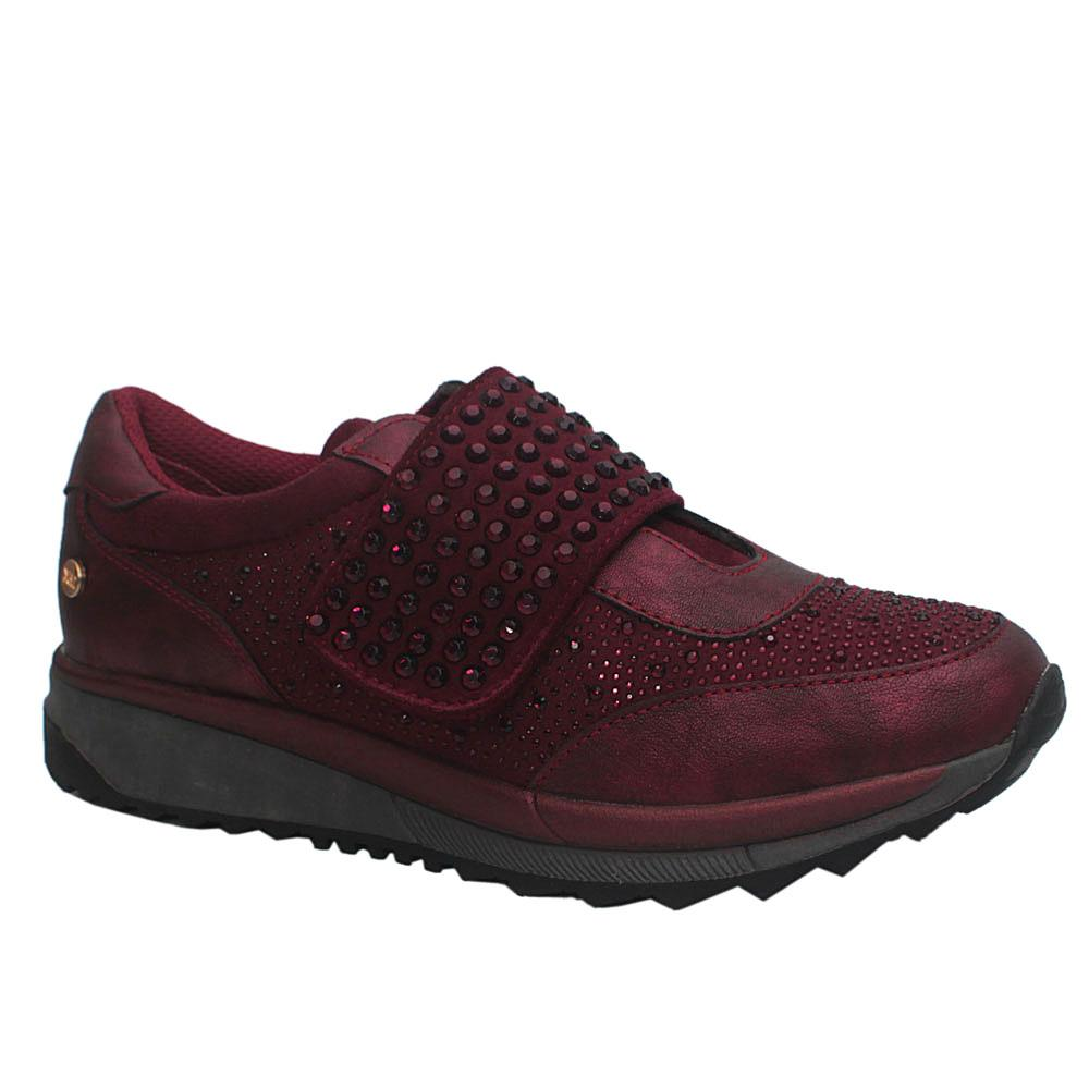 Wine CrystalStudded Leather Sneakers