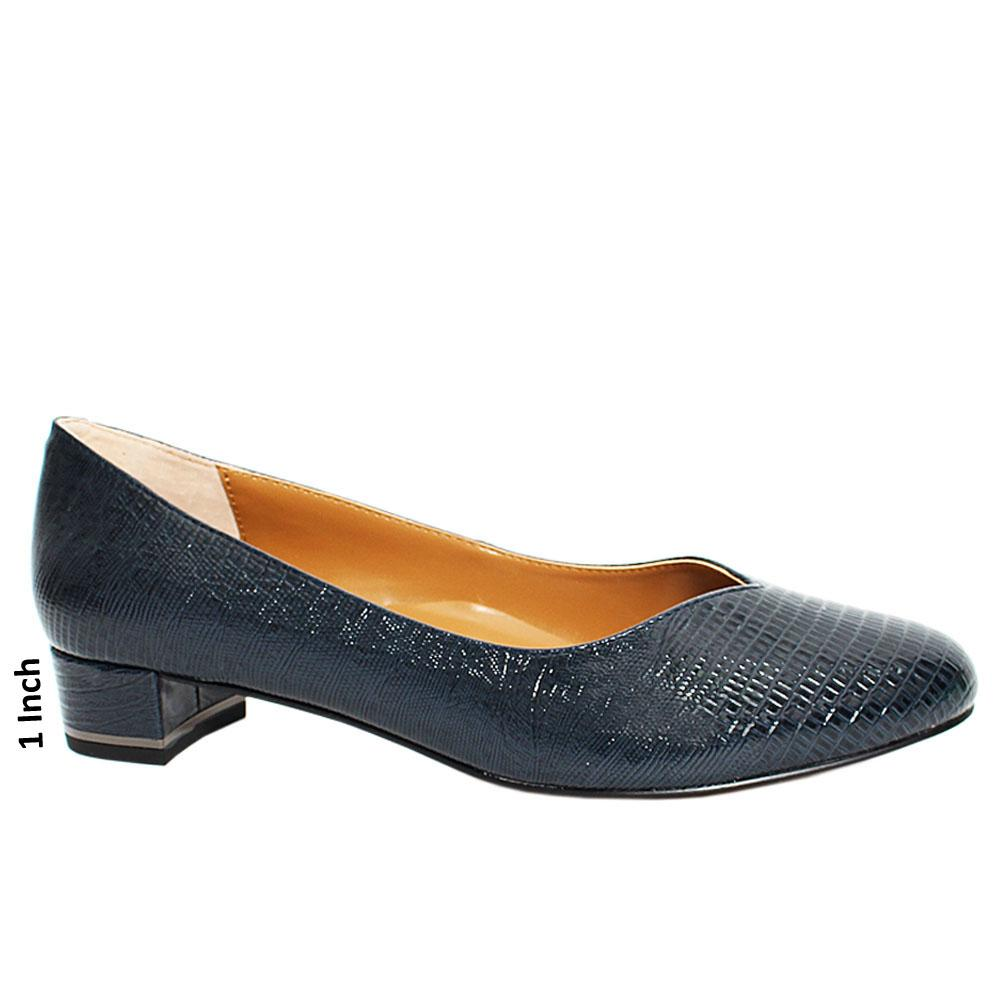 Navy Sicilia Snake Patent Leather Low Heel