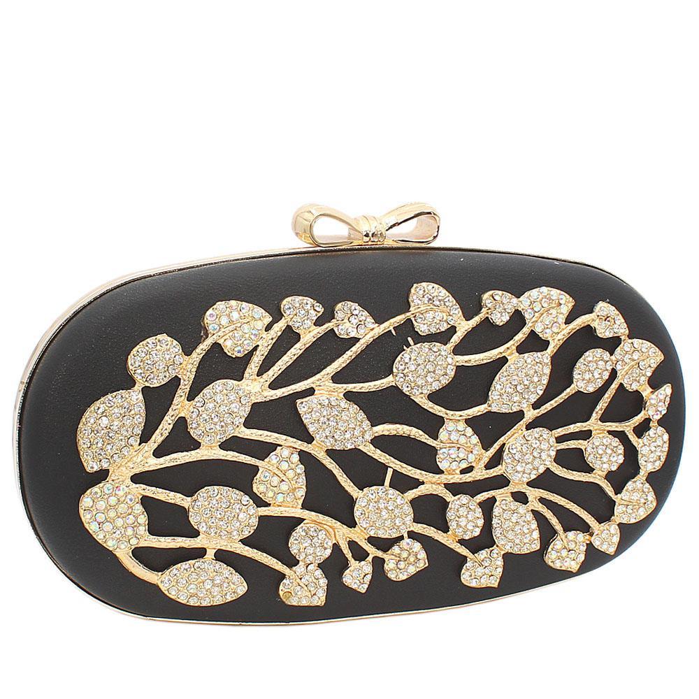 Black Ariel Gold Studded Leather Clutch Purse