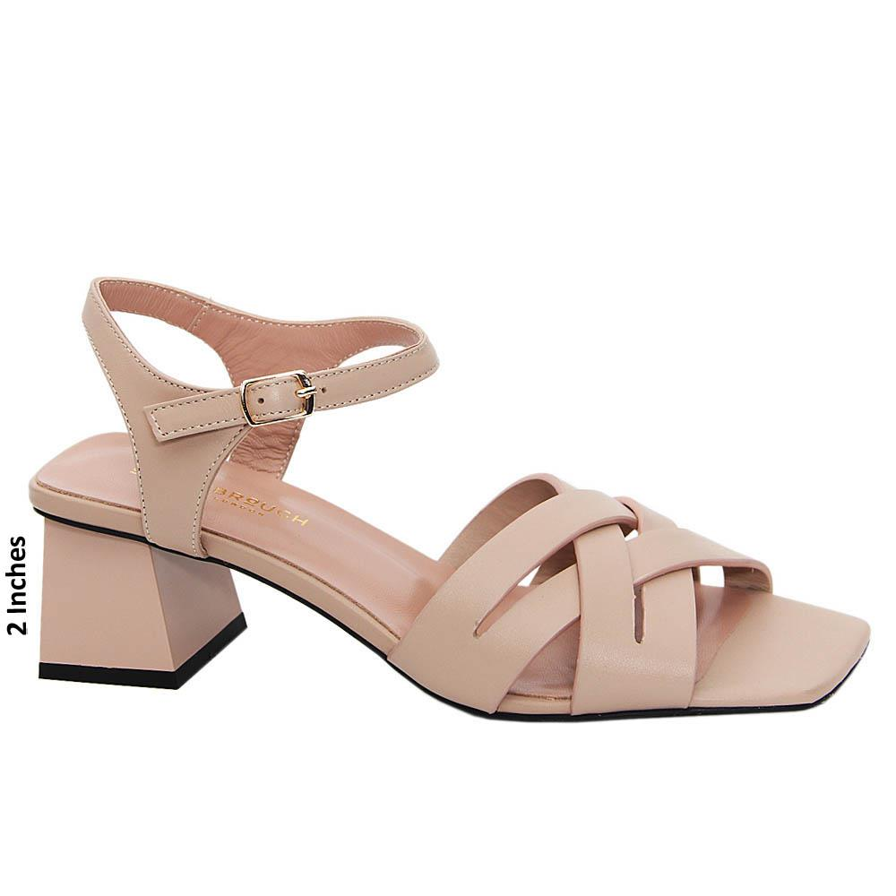 Soft Pink Jayleen Tuscany Leather Mid Heel Sandals