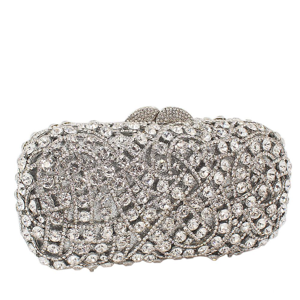 Silver Diamante Crystals Clutch Purse