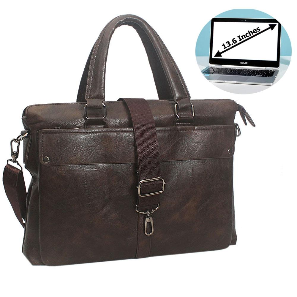 Coffee Rodrigo Leather Briefcase