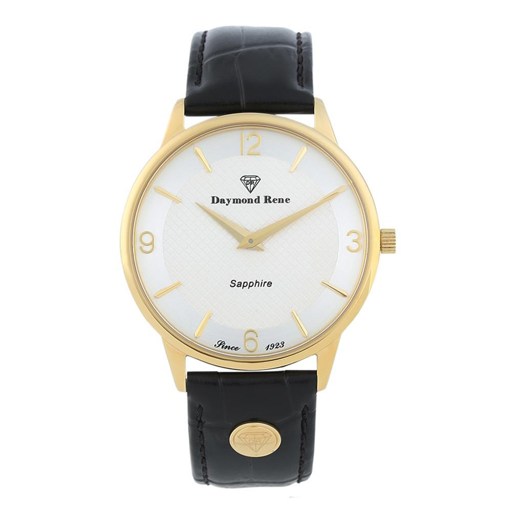 Black Sapphire Gold Classic Leather Flat Watch