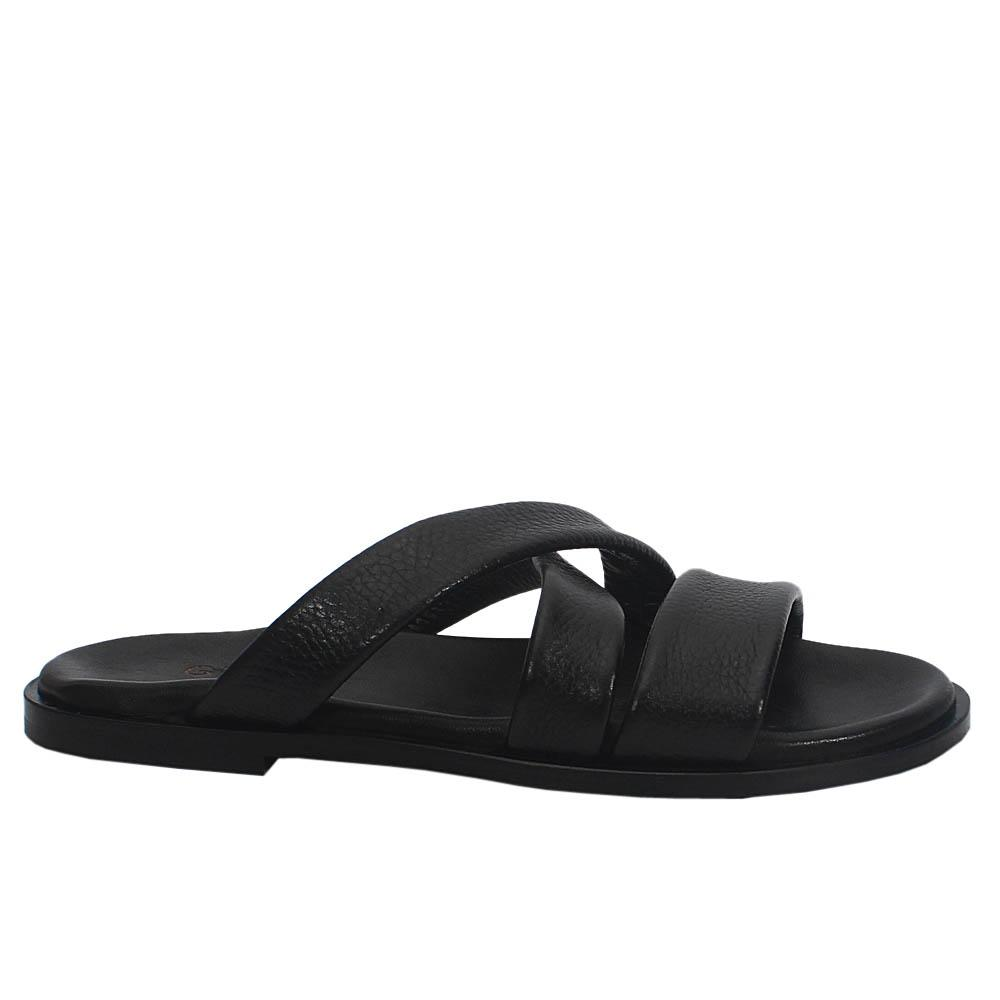 Black SantoLeather Upper and Sole Men Slippers