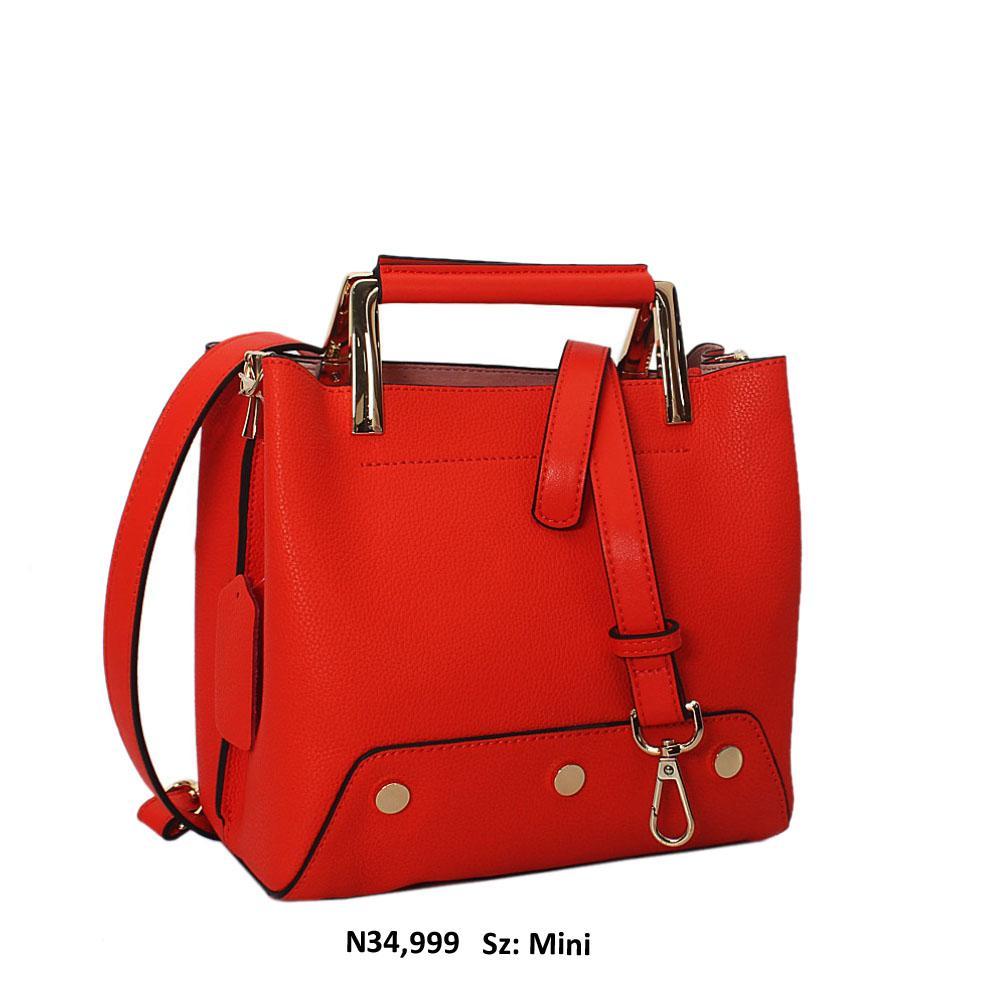 Harriet Orange Cowhide Leather Metal Handle Mini Tote Handbag