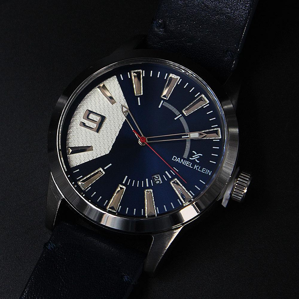Daniel Klein Luis Silver Navy Leather Fashion Series Watch