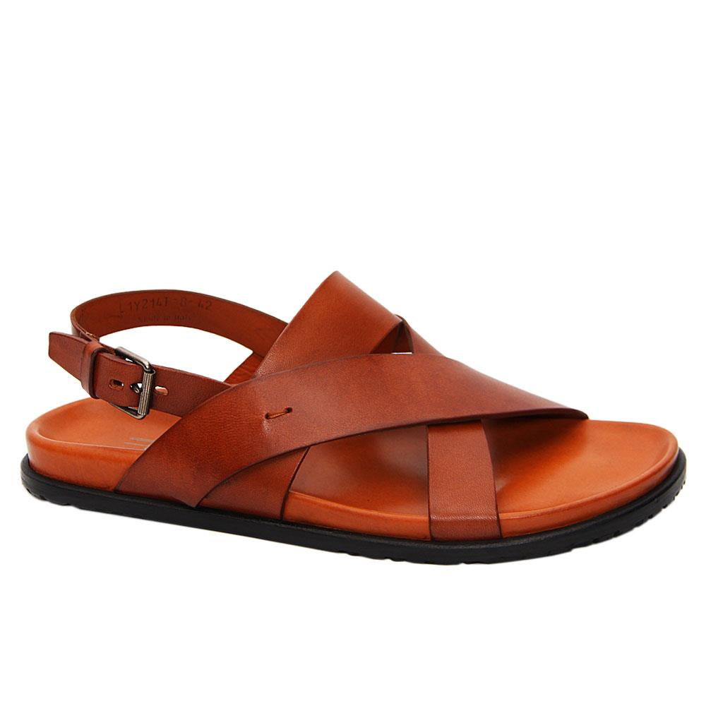 Brown Nathan Leather Crossover Sandals