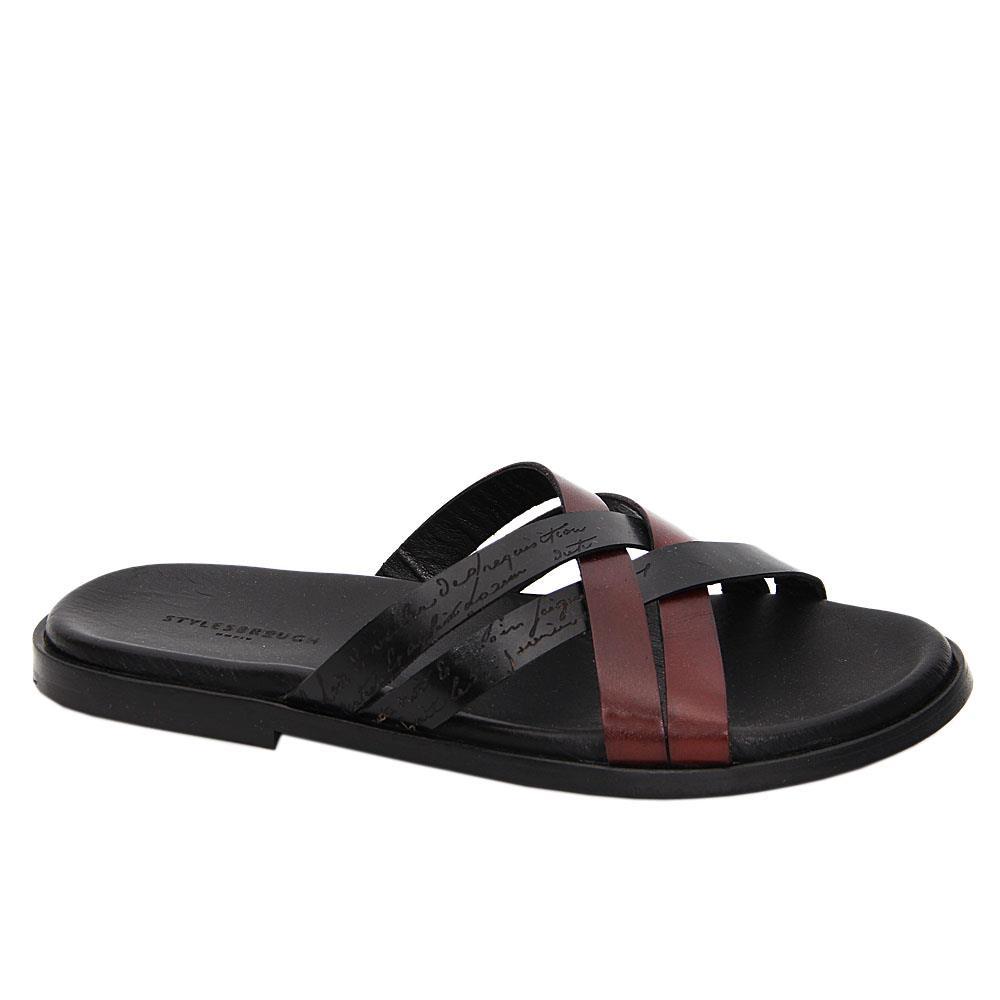 Black Coffee Caesar Italian Leather Slippers