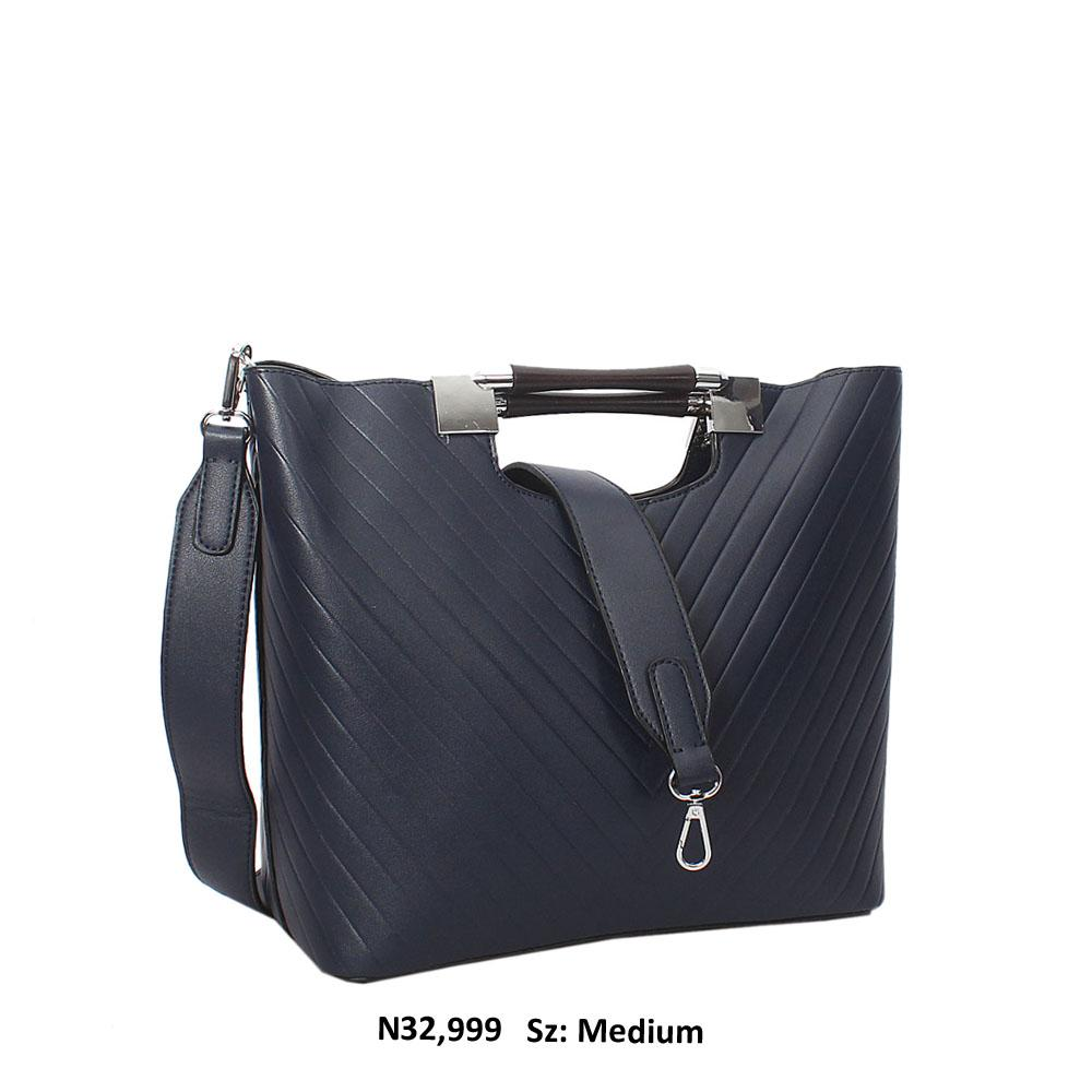 Navy Blue Raimonda Leather Metallic Handle Tote Hangbag