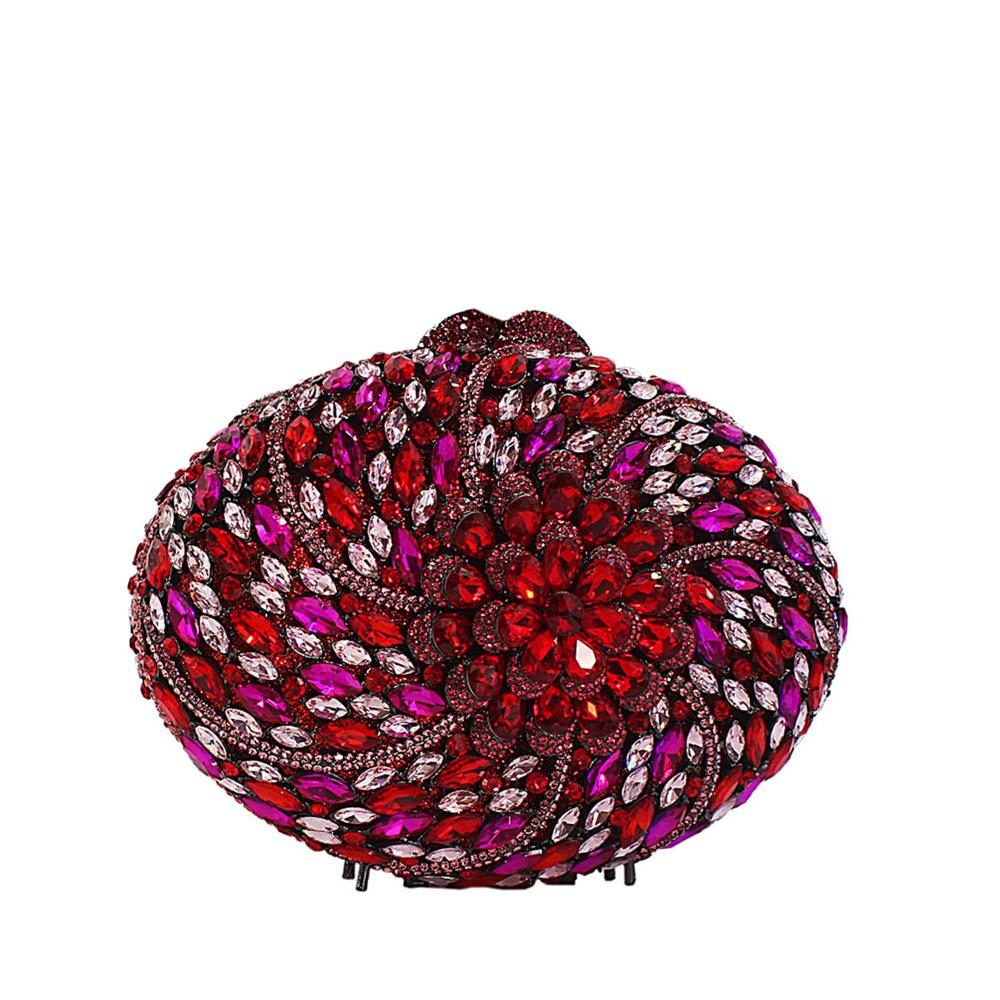 Red Multicolor Diamante Crystals Clutch Purse