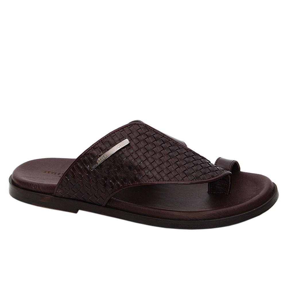 Coffee-Elias-Italian-Leather-Toe-Loop-Slippers