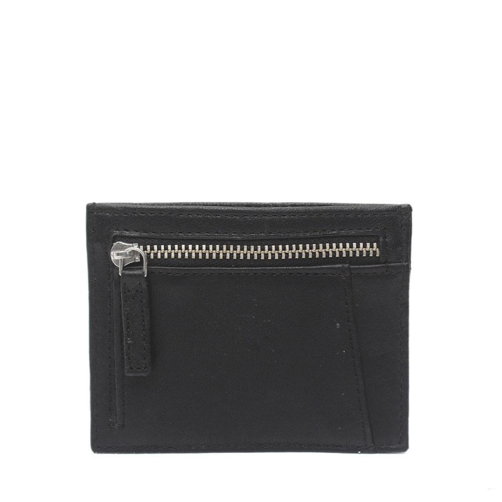 M & S Black Geniuene Leather 4 Card Slots Coin Pocket Wallet