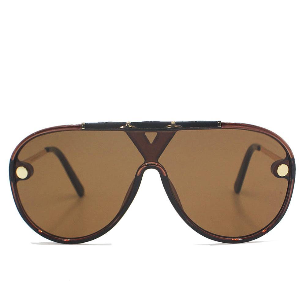 Brown Square Face Oversize Shield Sunglasses