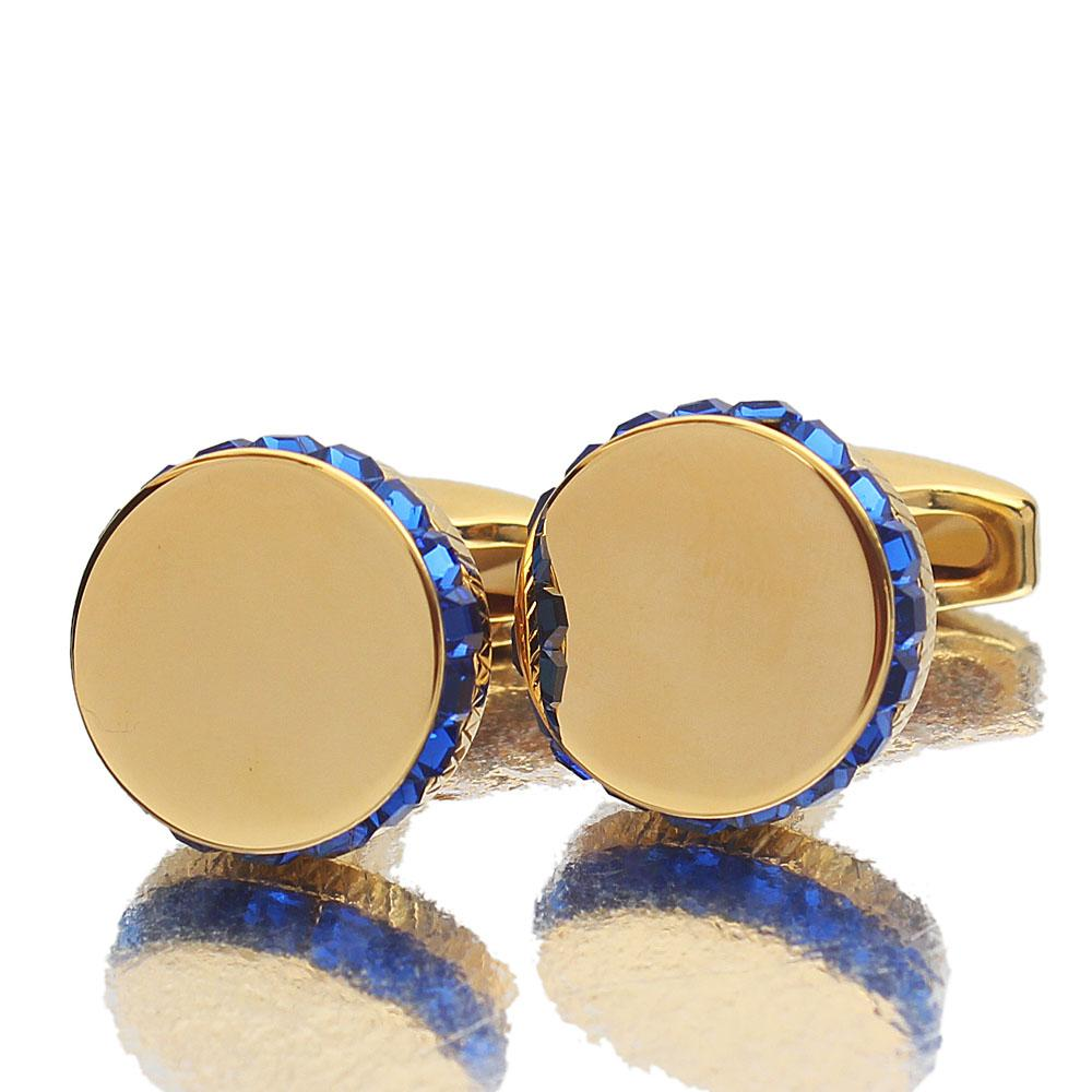 Gold Royal Blue Ice Stainless Steel Cufflink