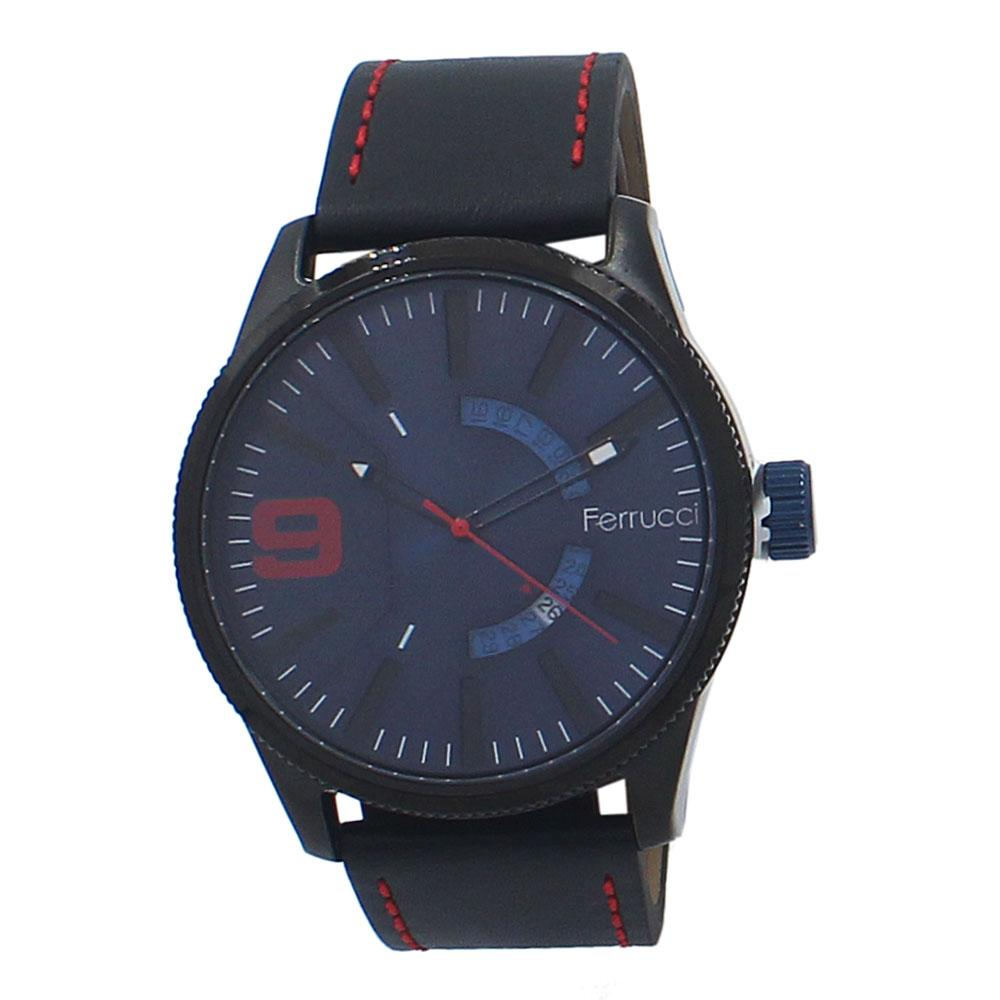 Etched Black Leather Watch