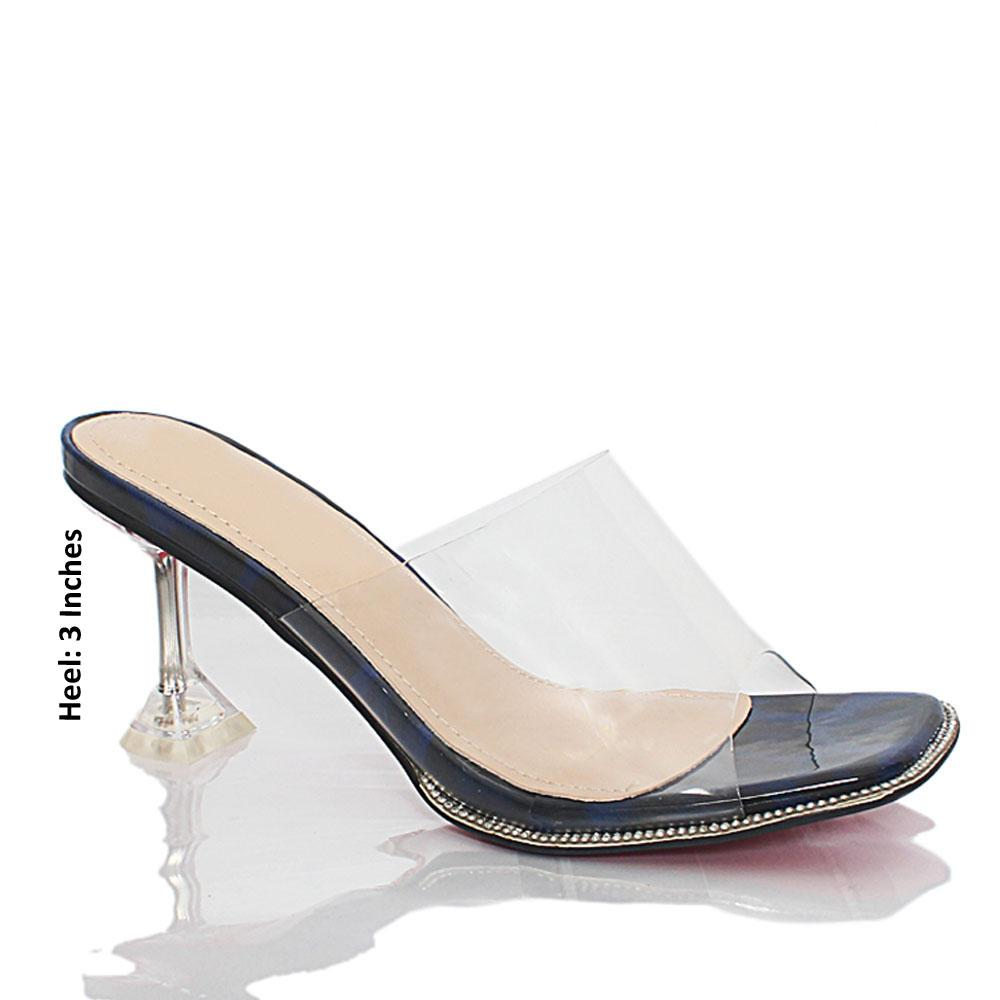 Navy Black Crystals Studded Transparent Rubber Leather Mules