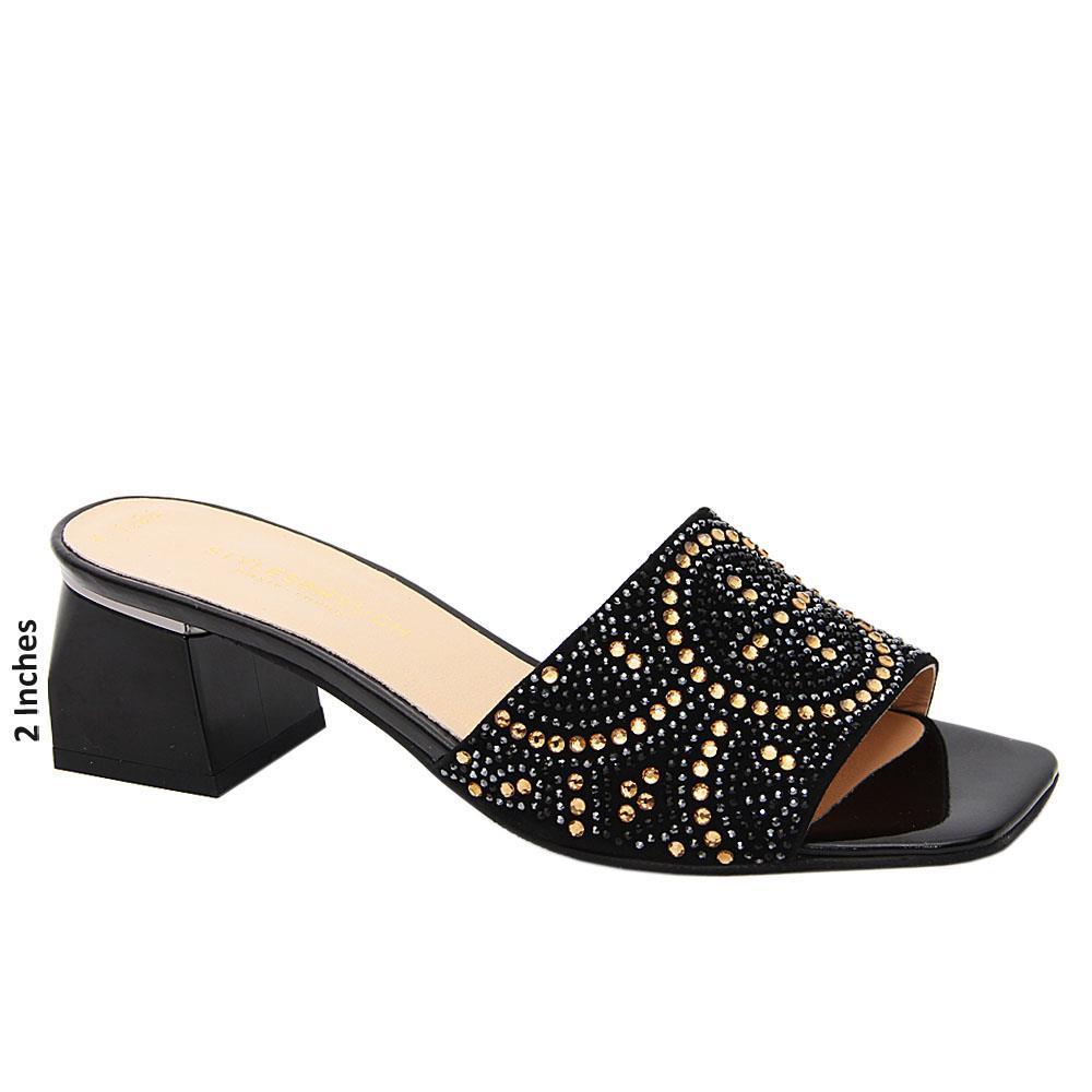 Black Satina Studded Tuscany Leather Mid Heel Mule